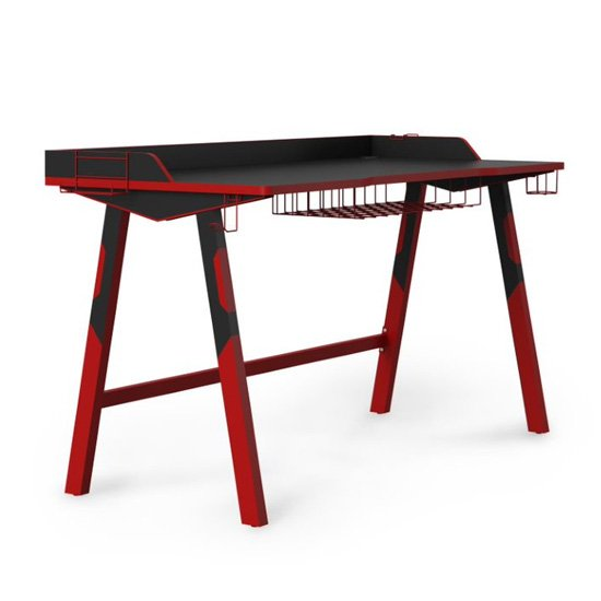 View Fuego wooden gaming desk in black and red