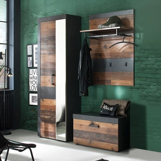 View Saige hallway furniture set 1 in old wood and graphite grey