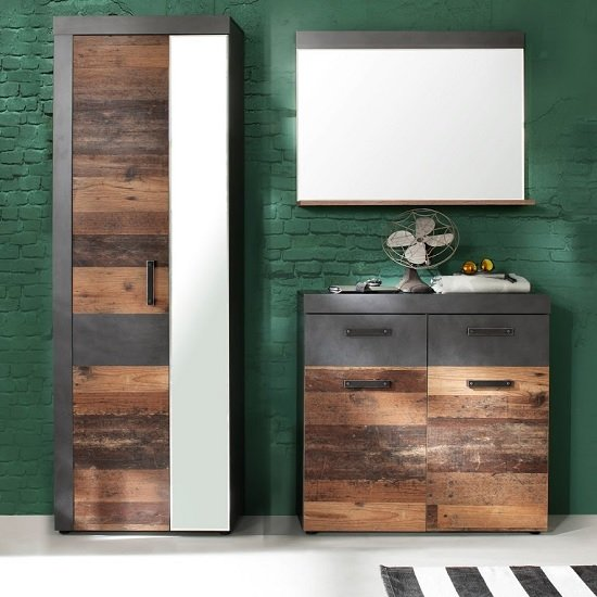 View Saige hallway furniture set 2 in old wood and graphite grey