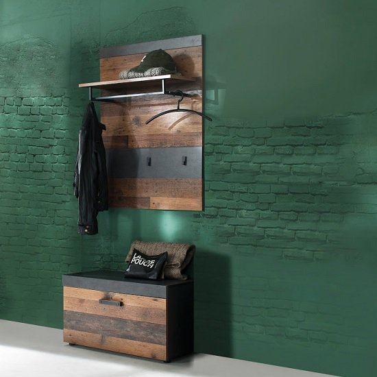 View Saige hallway stand in old wood and graphite grey