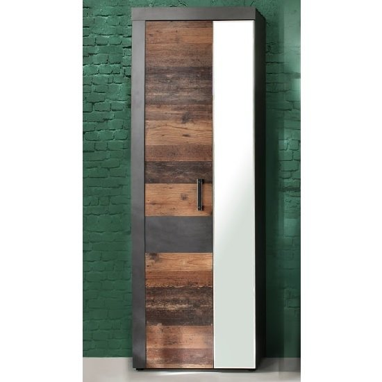 View Saige hallway mirrored wardrobe in old wood and graphite grey