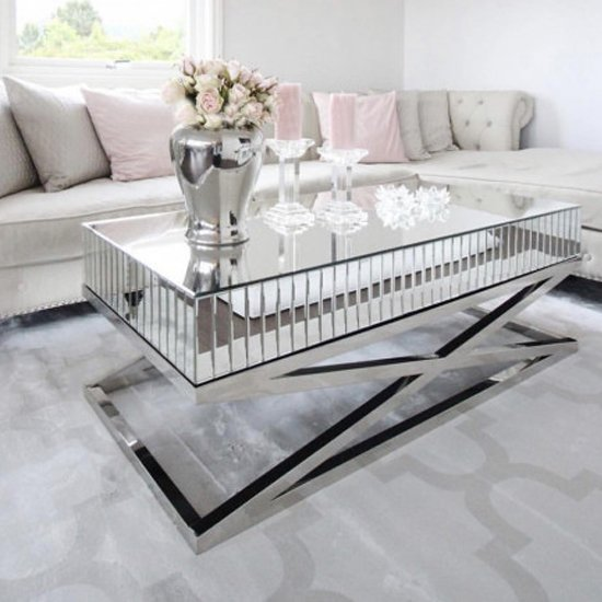 View Gala mirrored wooden coffee table with silver steel legs
