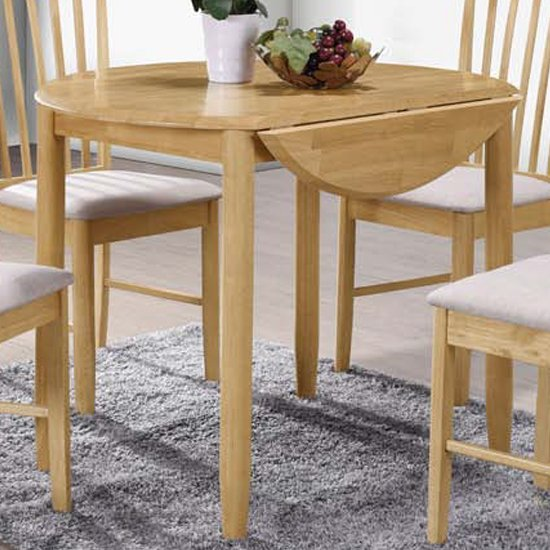 View Garnet round drop leaf dining table in light oak