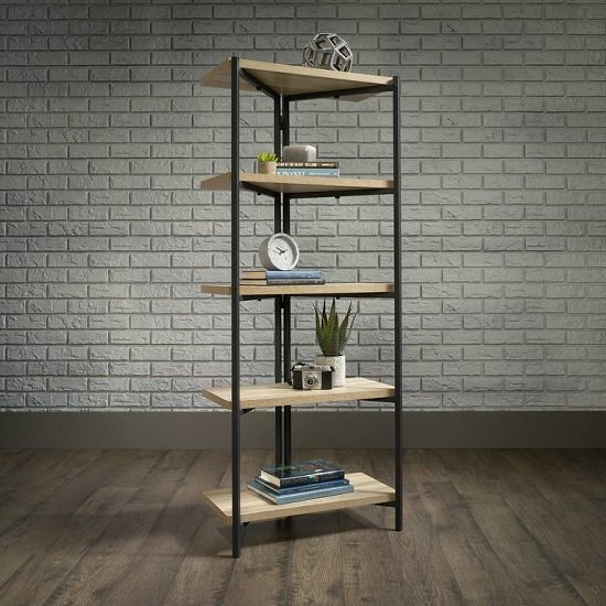 View Garrick bookcase or shelving unit in charter oak and metal frame