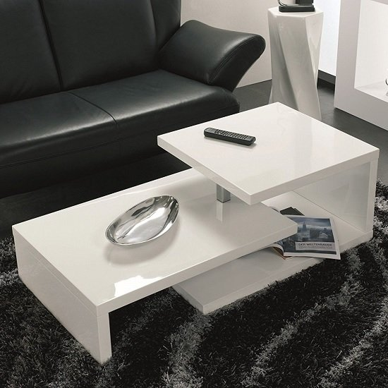 View Geno coffee table in white high gloss with rotation