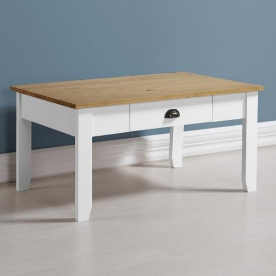 View Gibson wooden coffee table rectangular in white and oak