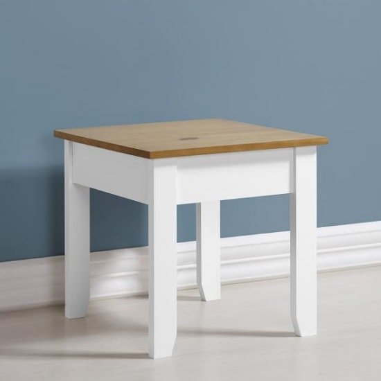 View Gibson wooden lamp table square in white and oak