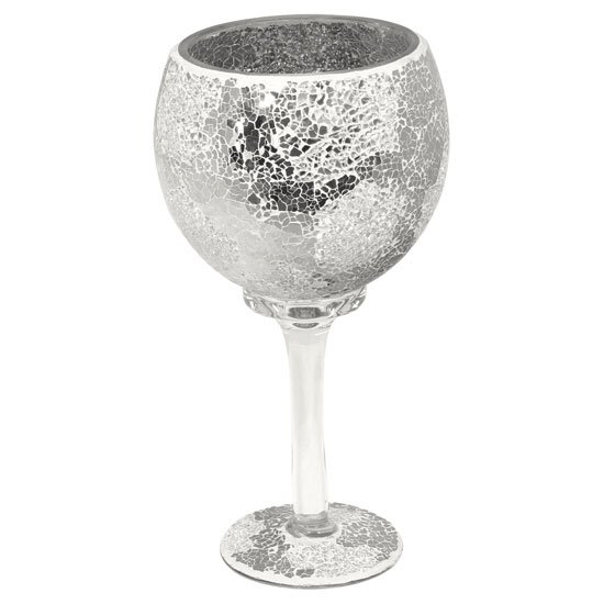 View Mosaic hurricane goblet in mirrored glass