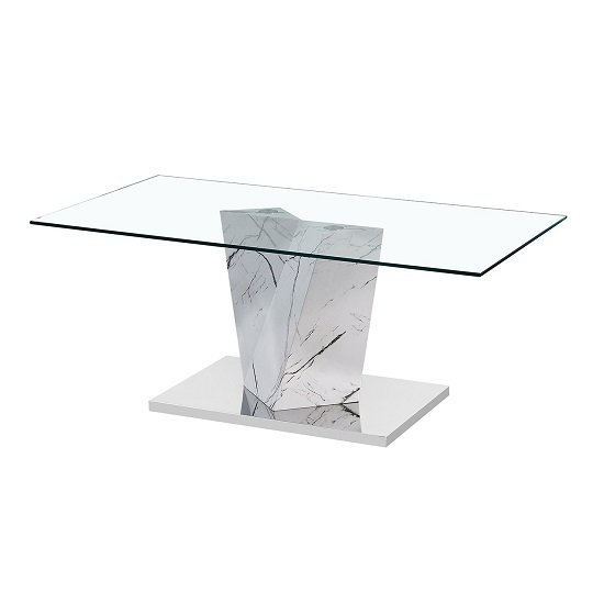 View Gosnold glass coffee table in marble effect with metal base