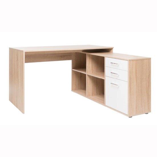 View Grafit corner computer desk in sonoma oak with white front
