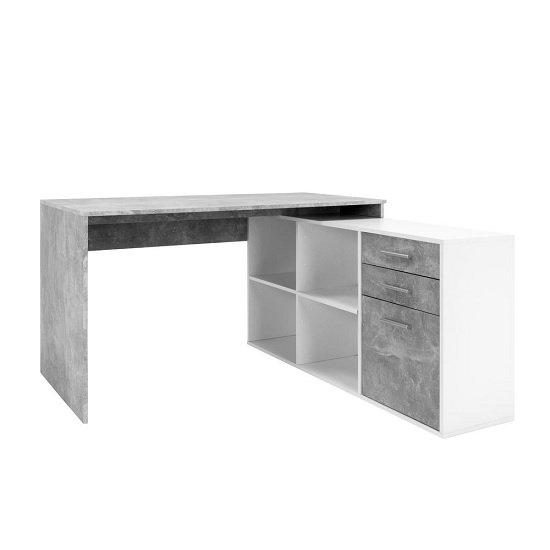 View Hadley corner computer desk in structured concrete and white