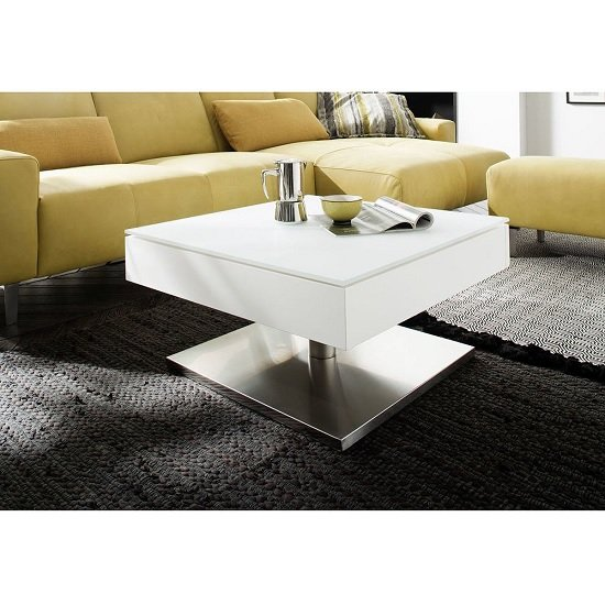 View Hadley storage glass coffee table in matt white with metal base