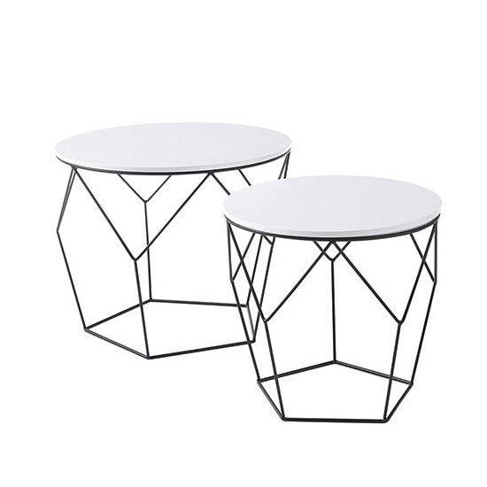 View Haiti wooden pair of coffee tables in matt white