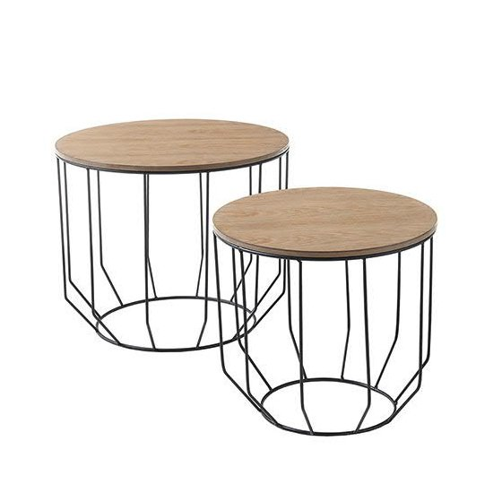 View Haiti wooden pair of coffee tables in oak