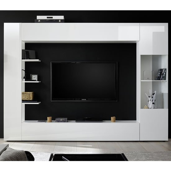 View Halcyon large entertainment unit in white high gloss