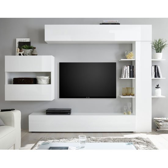 View Halcyon wall entertainment unit in white high gloss