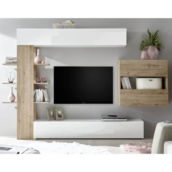 View Halcyon wall entertainment unit in white gloss and cadiz oak