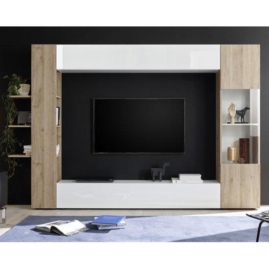View Halcyon white gloss large entertainment unit in cadiz oak