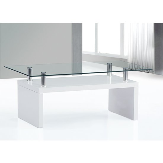 View Hampton wooden coffee table in white high gloss