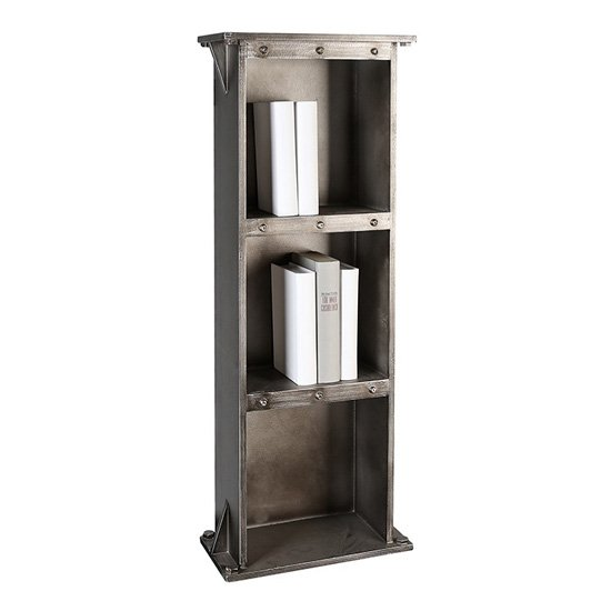 View Harbour wooden bookcase in anthracite and silver with 3 shelves