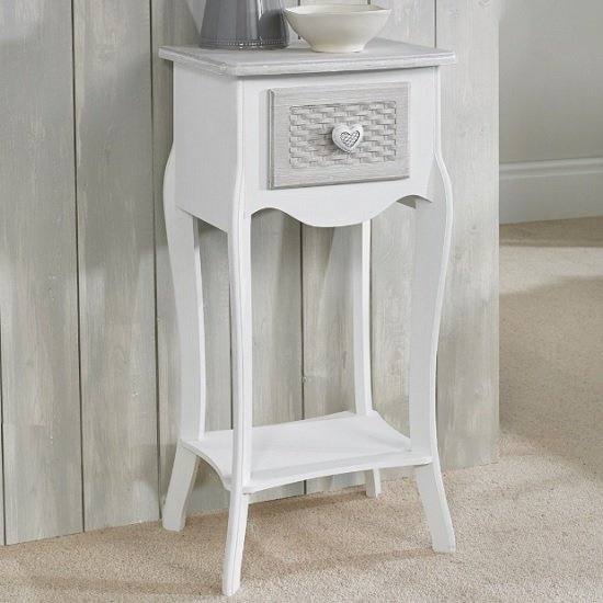 View Harerra wooden bedside table in white and grey with 1 drawer