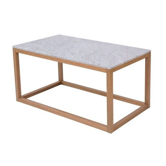 View Hasting white marble coffee end table with oak frame