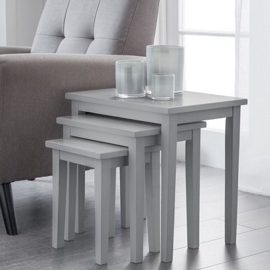 View Heaton wooden set of 3 nest of tables in lunar grey lacquer