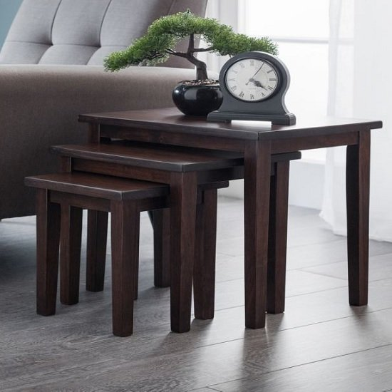 View Heaton wooden set of 3 nest of tables in mahogany