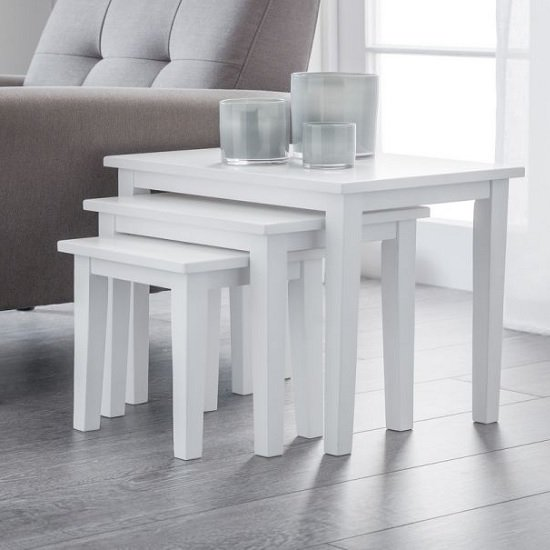 View Heaton wooden set of 3 nest of tables in white