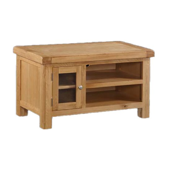 View Heaton small straight tv unit in rustic light oak