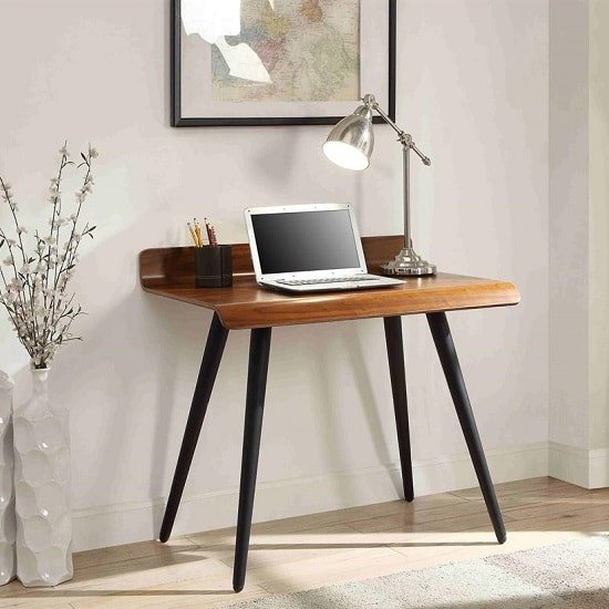 View Hector small computer desk rectangular in walnut with dark legs