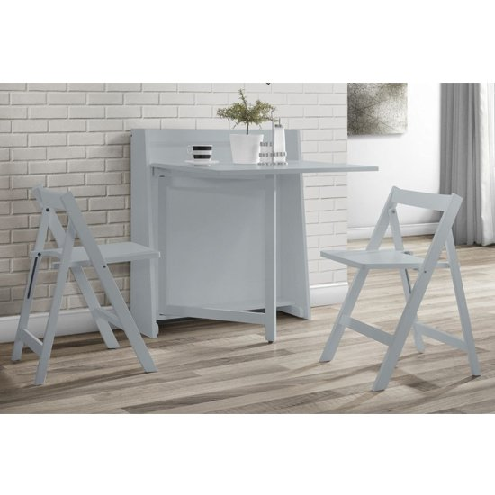 View Helsinki dining set in grey with 2 folding chairs