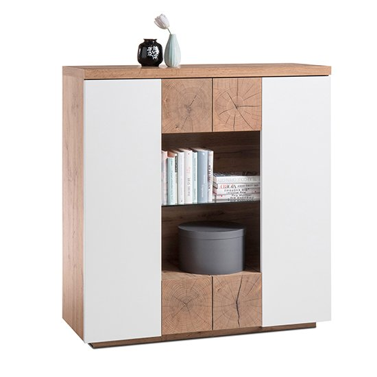 View Helsinki highboard in oak and white with 2 doors 2 drawers