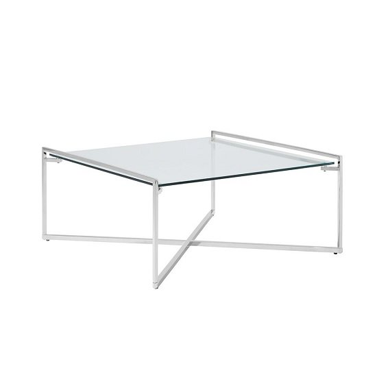 View Hendrix glass coffee table square in clear with steel base