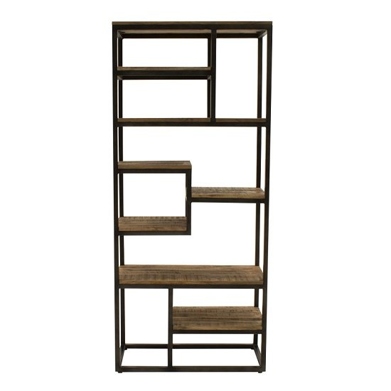 View Hexham tall sim wooden bookcase with black metal frame
