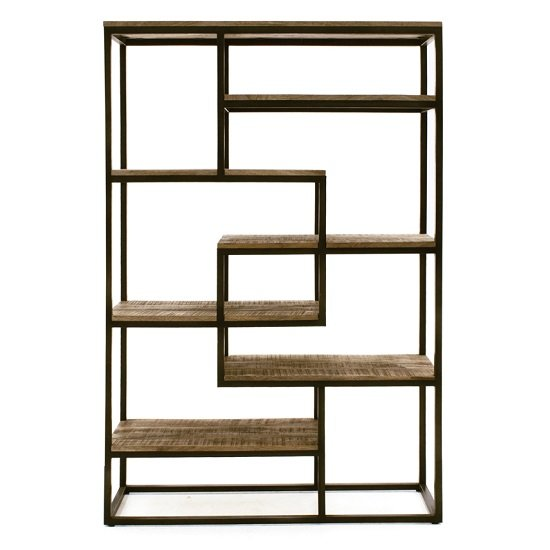 View Hexham tall wide wooden bookcase with black metal frame