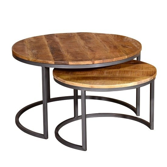 View Hexham wooden coffee tables set in rustic hand finished mango