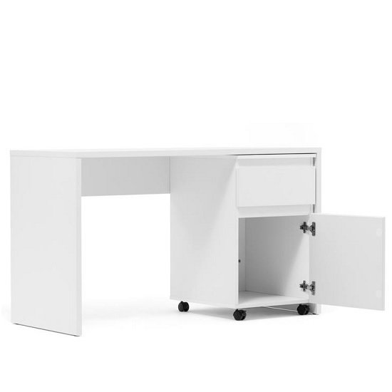 View Hilary computer desk with pedestal in white
