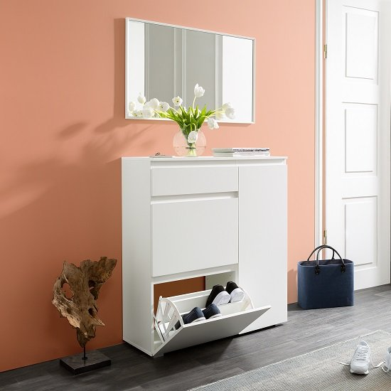 View Hilary wooden shoe storage cabinet in white
