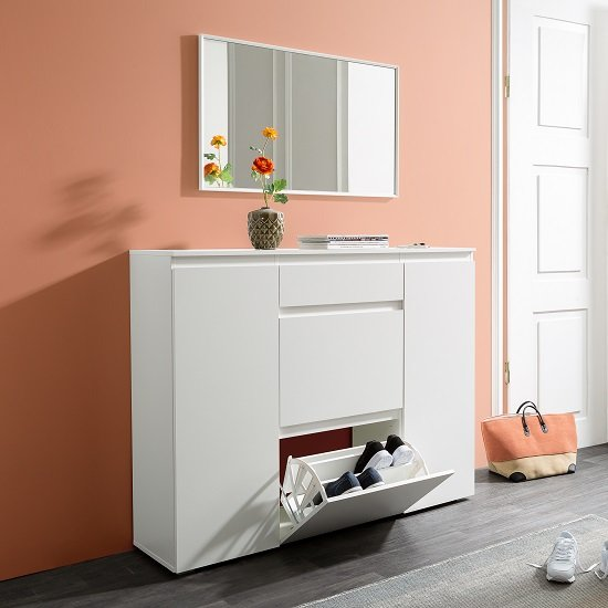 View Hilary wooden shoe storage cupboard in white