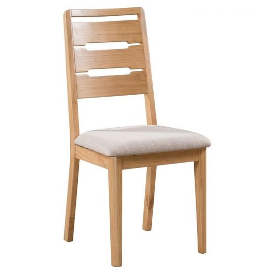 View Holborn wooden dining chair in oak with padded linen seat