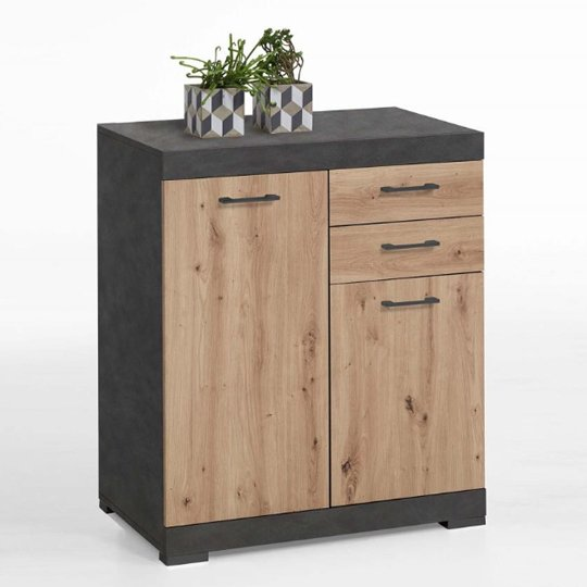 View Holte wooden small sideboard in matera and artisan oak