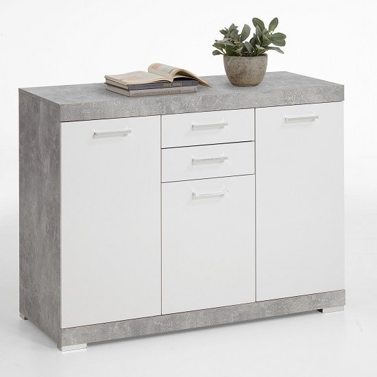 View Holte wooden sideboard small in light atelier and glossy white