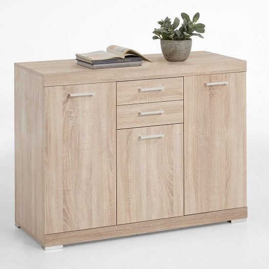 View Holte wooden sideboard small in oak tree with 3 doors