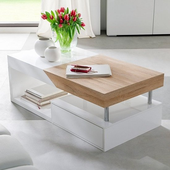 View Hope storage coffee table in sawn oak with white drawers