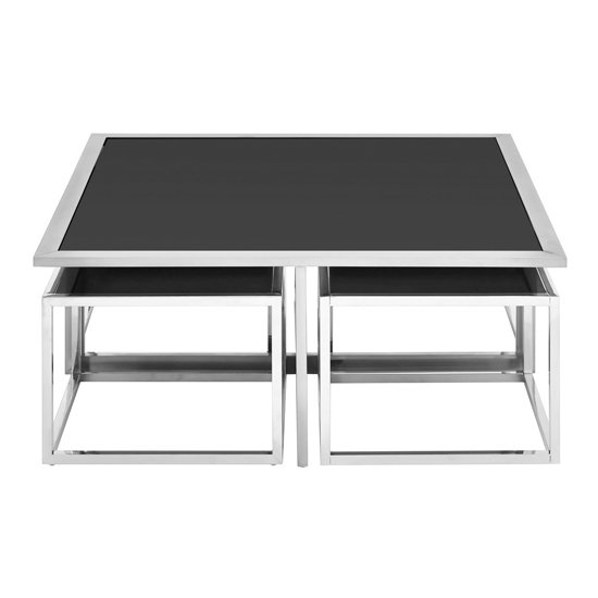 View Fafnir glass coffee table and stools set with silver base