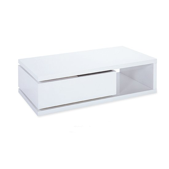 View Hugh wooden coffee table in white high gloss