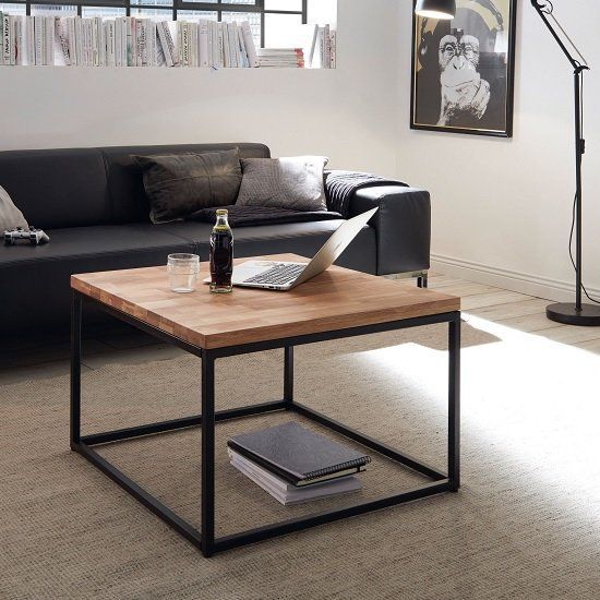 View Humber wooden coffee table square in knotty oak