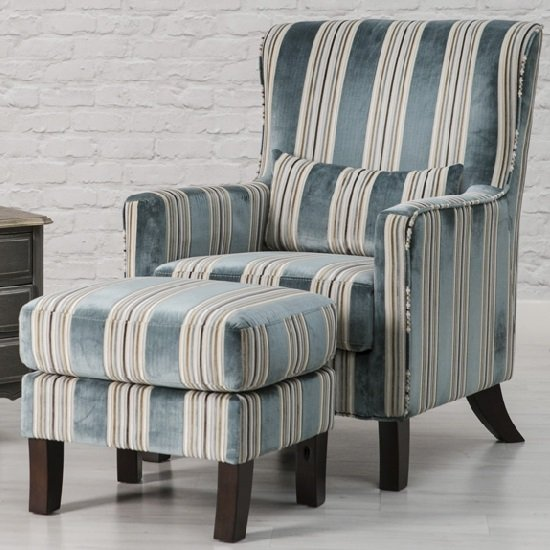 View Humphrey fabric accent chair and footstool in blue