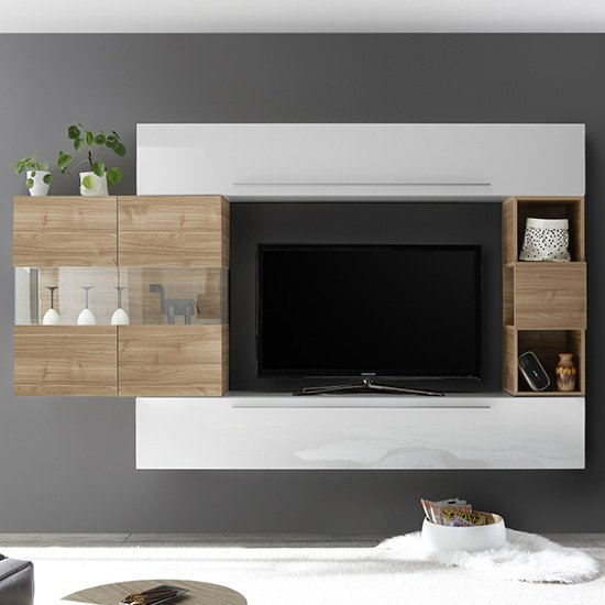 View Infra white high gloss entertainment unit in stelvio walnut